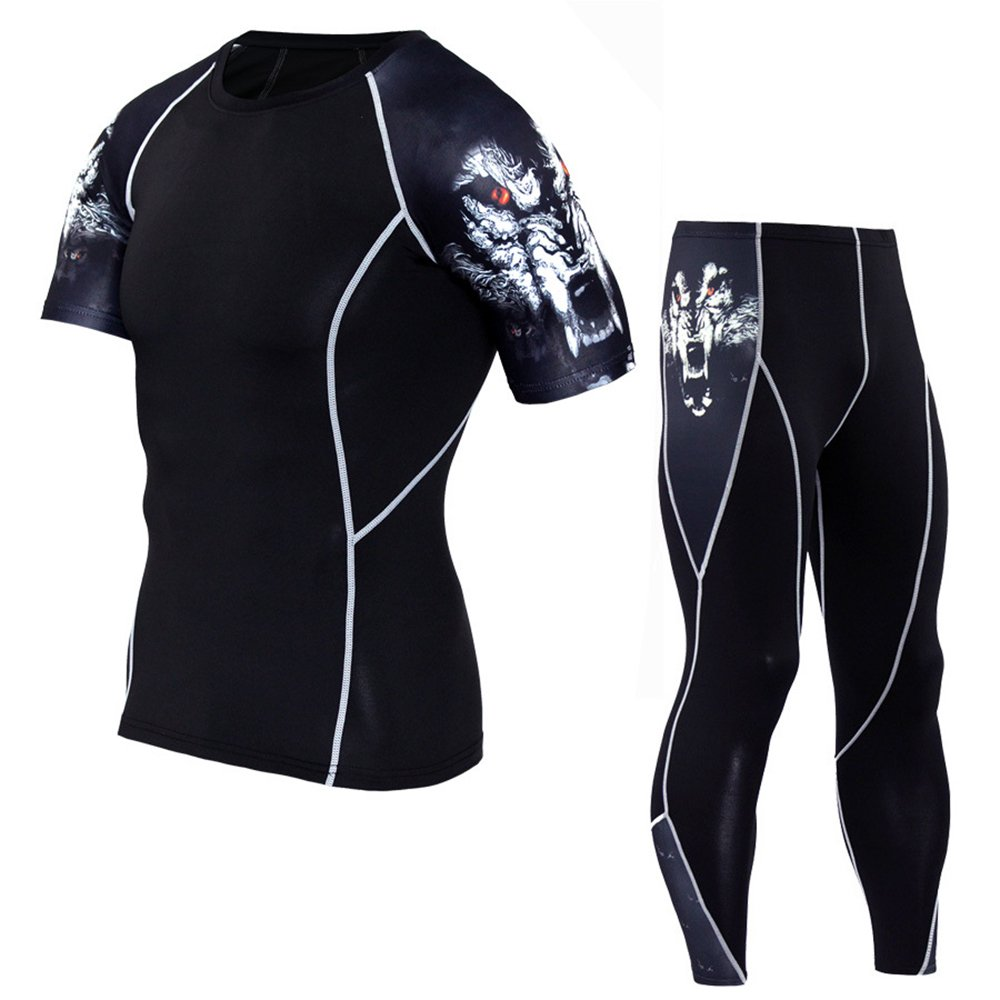 1Bests Men's 2 Pieces Camouflage Fitness Sportswear Running Training Tights Speed Drying Coat Set