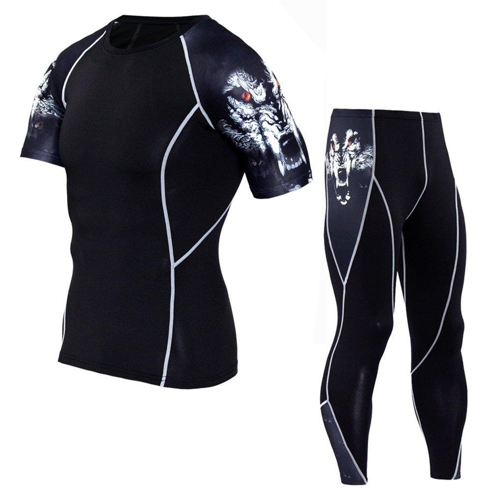 1bestsメンズ2 PiecesスポーツFitness迷彩柄Tight Set Running速乾性通気性圧縮Tシャツ+パンツ B071GT847Z Small|WS-Wolf WS-Wolf Small