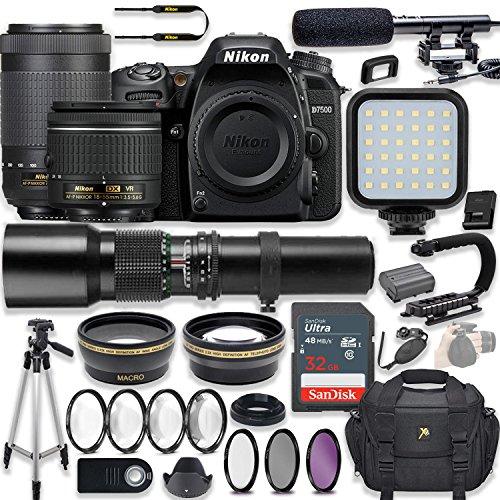 Nikon D7500 20.9 MP DSLR Camera Video Kit with AF-P 18-55mm VR Lens, AF-P 70-300mm ED VR Lens & 500mm Lens + LED Light + 32GB Memory + Filters + Macros + Deluxe Bag + Professional Accessories