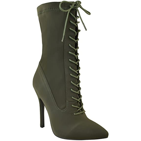 Fashion Thirsty Womens Lace Up High Heel Stiletto Lycra Ankle Boots Size by Fashion Thirsty