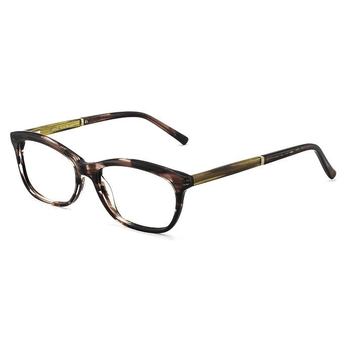fe7e5cce17 OCCI CHIARI Gafas de mujer marco moda rectángulo metal decoración acetato  lentes marco con bisagra de primavera y claras lentes para mujeres:  Amazon.es: ...