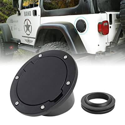 JeCar Gas Cap Cover Aluminum Fuel Filler Door for Jeep Wrangler 1997-2006 TJ, Black: Automotive