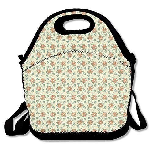 Marvin Conrad Flourishing Spring Flowers And Green Leaves Wavy Vertical Art Pattern Lunch Bag Tote For School Work Outdoor