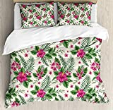 4 Piece Bedding Set Twin Size, WatercolorPlumeria and Hibiscus Flora Tropical Island Nature Aloha Hawaii Jungle,Duvet Cover Set Quilt Bedspread for Childrens/Kids/Teens/Adults