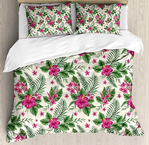 4 Piece Bedding Set Twin Size, WatercolorPlumeria and Hibiscus Flora Tropical Island Nature Aloha Hawaii Jungle,Duvet Cover Set Quilt Bedspread for Childrens/Kids/Teens/Adults by Cloud Dream