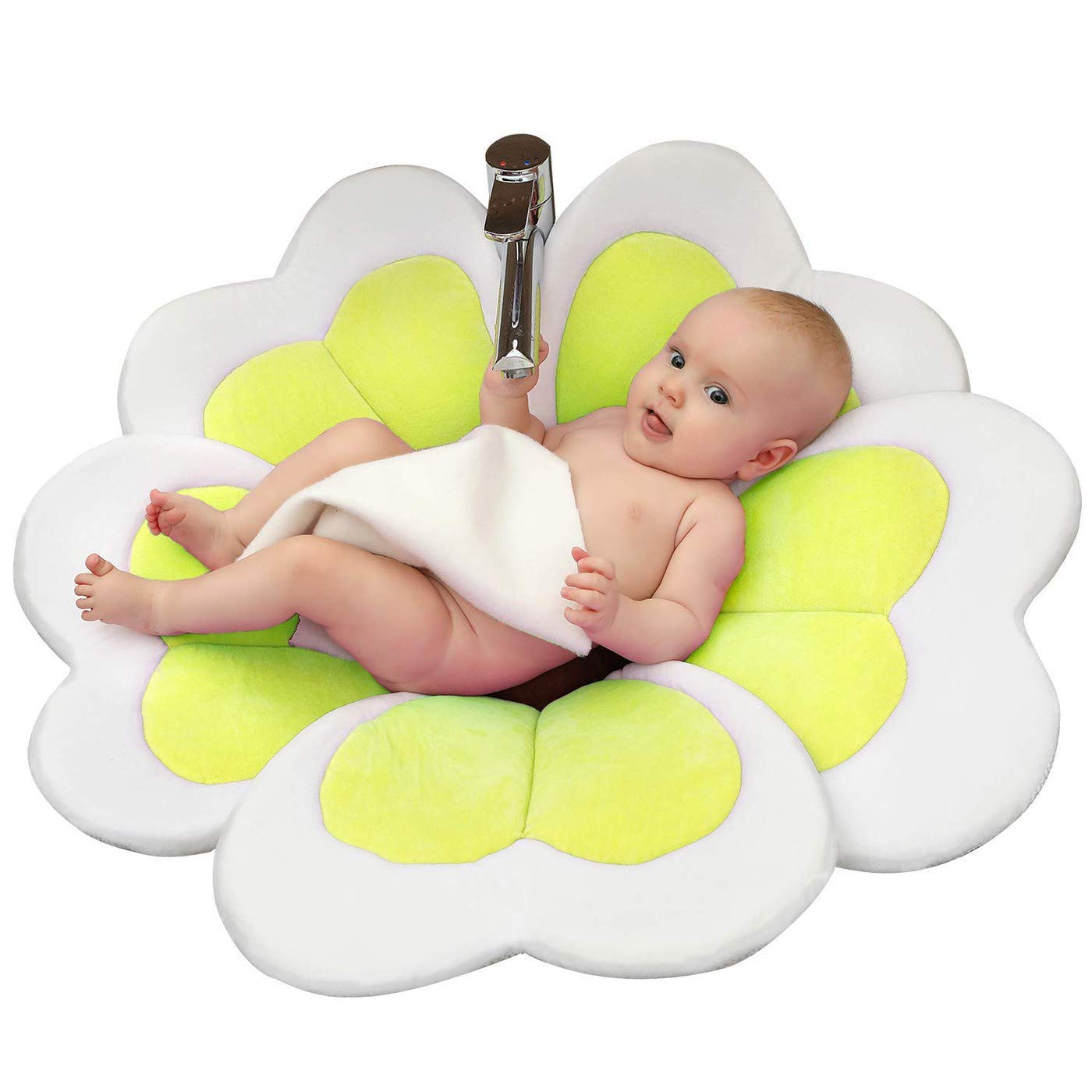 VERNASSA Baby Flower Bath Tub, Wash Flower Cushion Support for Sink Baths VE028-Yellow