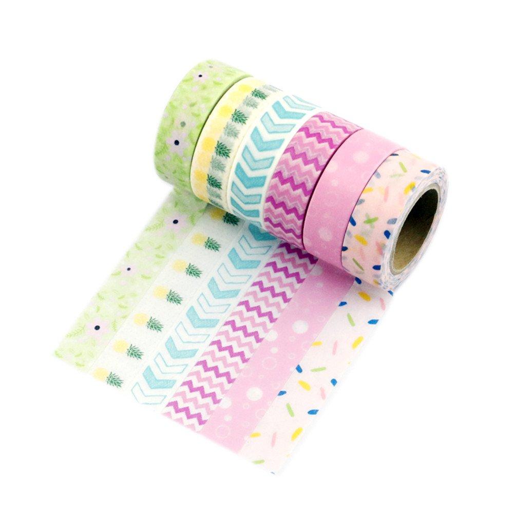 Lot de 6 Washi Tape Masking Tape Ruban Noel Cadeau Adhésif Ruban décoratif Decorative MFR-P1003
