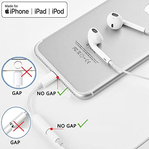 WIKIPro Lightning to Headphone Jack Adapter Dongle,Apple MFi Certified  Earphone Converter for iPhone Xs/Max/XR/X/8/8Plus 7/7Plus/iPad Earbud,Music