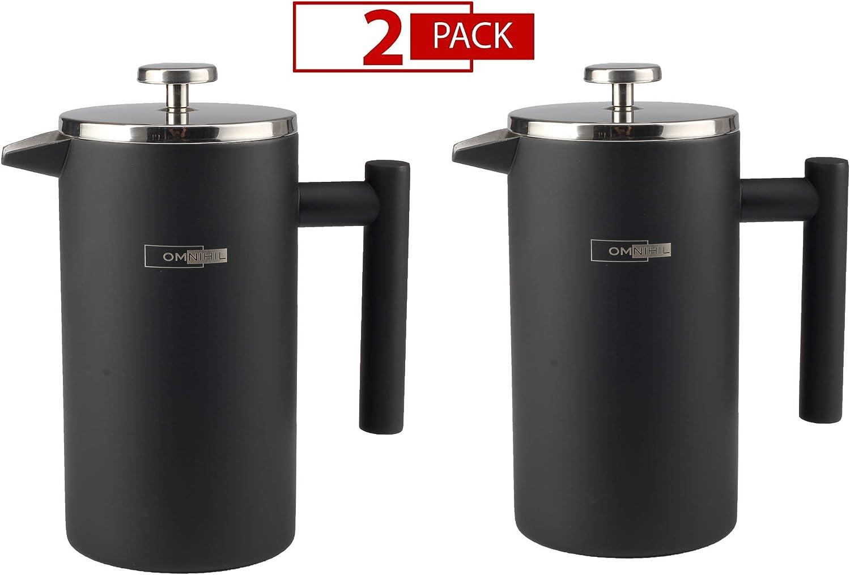 OMNIHIL 2-PACK Matte Black French Press Coffee Maker – Size 1000ML
