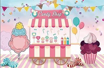 Amazoncom Lfeey 10x7ft Candy Shop Back Drop Cupcakes Juice Ice