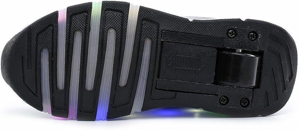 FG21ds21g Kids Led Light Roller Skates Shoes Flashing Sneakers Wheels Auto-Paragraph Skates Shoes Black 40 M EU//6.5 M US Big Kid