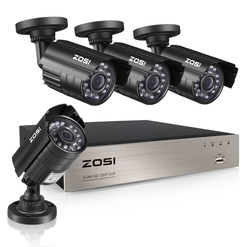 ZOSI 8-Channel HD-TVI 1080N/720P Video Security System DVR Recorder with 4X HD 1280TVL Indoor/Outdoor Weatherproof CCTV Cameras NO Hard Drive,Motion Alert, Smartphone& PC Easy Remote Access