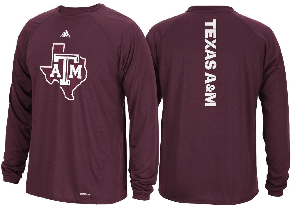 aefc996c9d89 Amazon.com   Texas A M Aggies Maroon Sideline Spine Climalite Long Sleeve T  Shirt (Large)   Sports   Outdoors