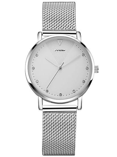 Alienwork Reloj Mujer Relojes Acero Inoxidable Plata Analógicos Cuarzo Blanco Impermeable Strass Purpurina Elegante