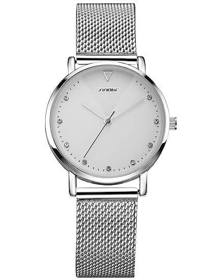 Alienwork Reloj Mujer Relojes Acero Inoxidable Plata Analógicos Cuarzo Blanco Impermeable Strass Purpurina Elegante: Amazon.es: Relojes