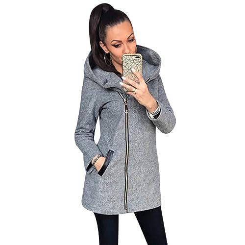 MIOIM Mujeres Chaqueda con capucha abrigo con cremallera cálido para otoño invierno Outwear