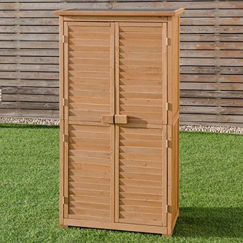 Goplus Garden Storage Shed Fir Wood Shutter Design Wooden Lockers for Outdoor by Goplus