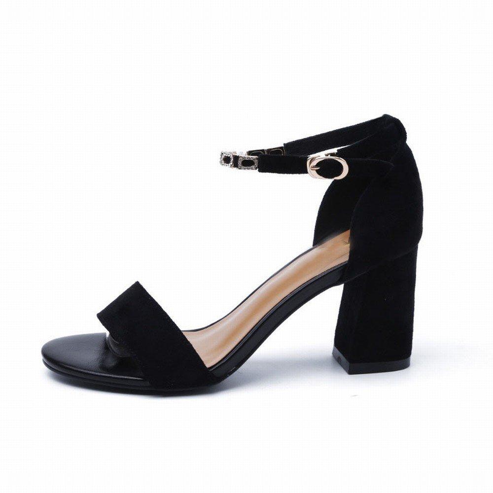 DIDIDD Dick mit Einer Sandale Weibliche High-Heels Schuhe 2018 Mode Schnalle Wildleder Sandalen Roman Schuhe Ein 36