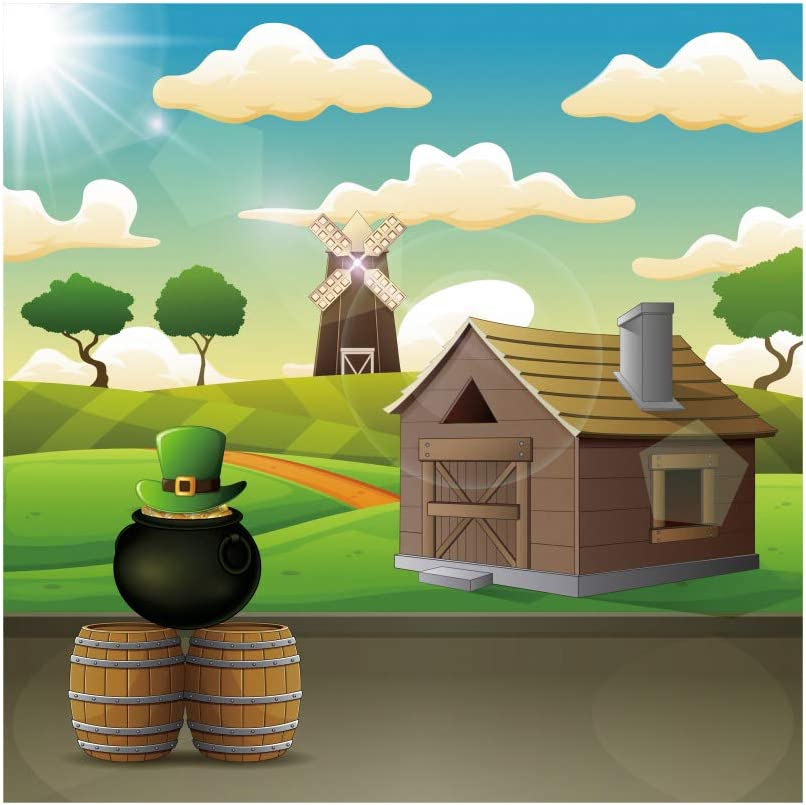 Haoyiyi 5x5ft Happy St.Patricks Day Backdrop Pot of Gold Golden Coins Green Hat Green Grass Field Lawn Spring Sunshine Background Photography Family Irish Ceilidh Party Photos Picture