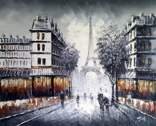 Große Paris in der Abenddämmerung Straßenszene mit Eiffelturm. Kunst Öl auf Leinwand Gemälde - Hervorragende Qualität und Handwerkskunst, handgefertigte Wandkunst