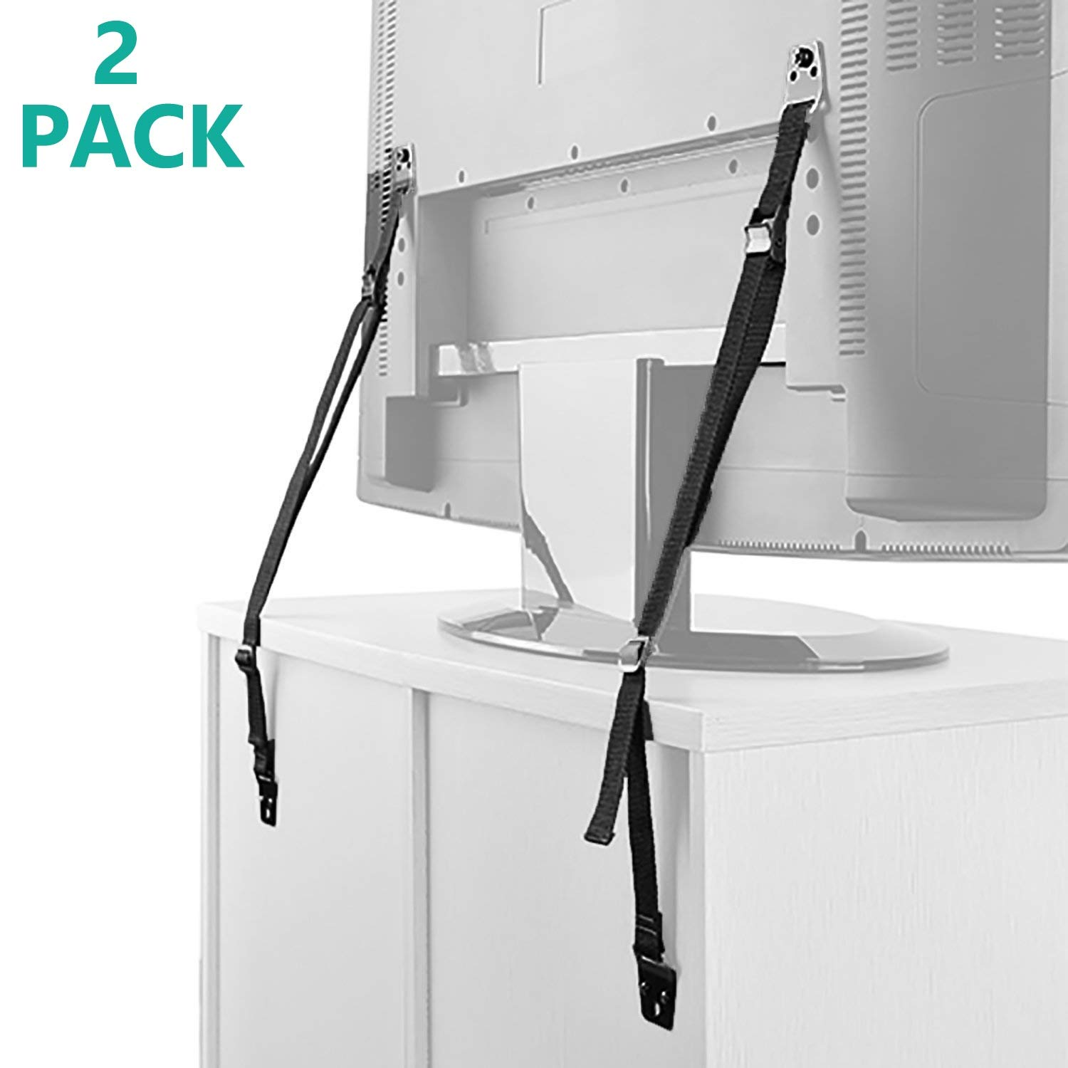 WALI Anti-Tip Heavy Duty Straps Safety Protection Fit Most Flat Screen TVs and Furniture, 2 Pack, Black