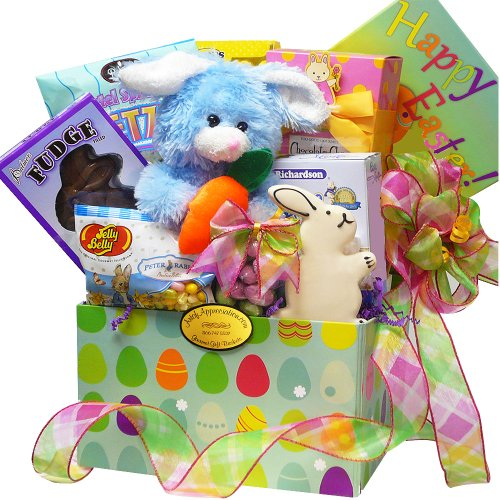 Art of Appreciation Gift Baskets Easter Bunny Care Package Gift Box of Chocolate and Candy Treat, Blue/Purple