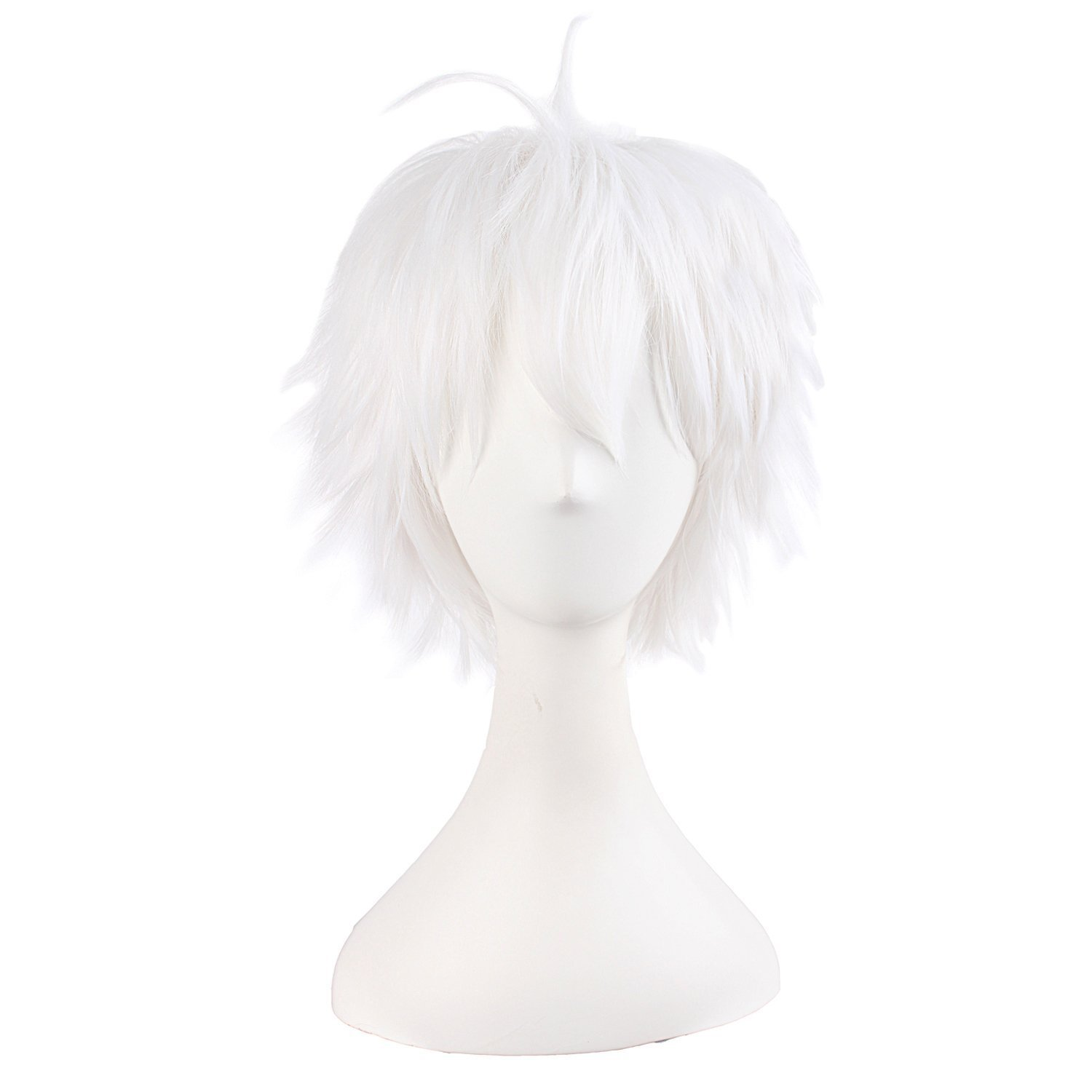 MapofBeauty 14/35cm White Men's with Short Hair Tied Ponytail Cosplay Wigs