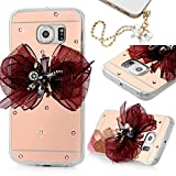 Galaxy S6 Edge Case- MOLLYCOOCLE® Luxury Rose Gold Ultra-thin Mirror Metal Back Clear TPU Soft Bumper Scratch Resistant 3D Bling Crystal Diamond Hot Pink Butterfly Bow Cover for Samsung Galaxy S6 Edge