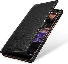StilGut Book Type Case, Custodia per Nokia 7 Plus a Libro Booklet in Vera Pelle, Nero con Clip