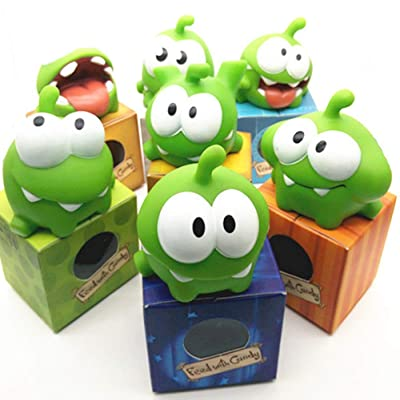 WENHSIN 7 Packs Rope Frog Rubber Games Doll Cut The Rope OM NOM Candy Gulping Monster Toy Figure with Squeak Sound for Kids Gift: Toys & Games