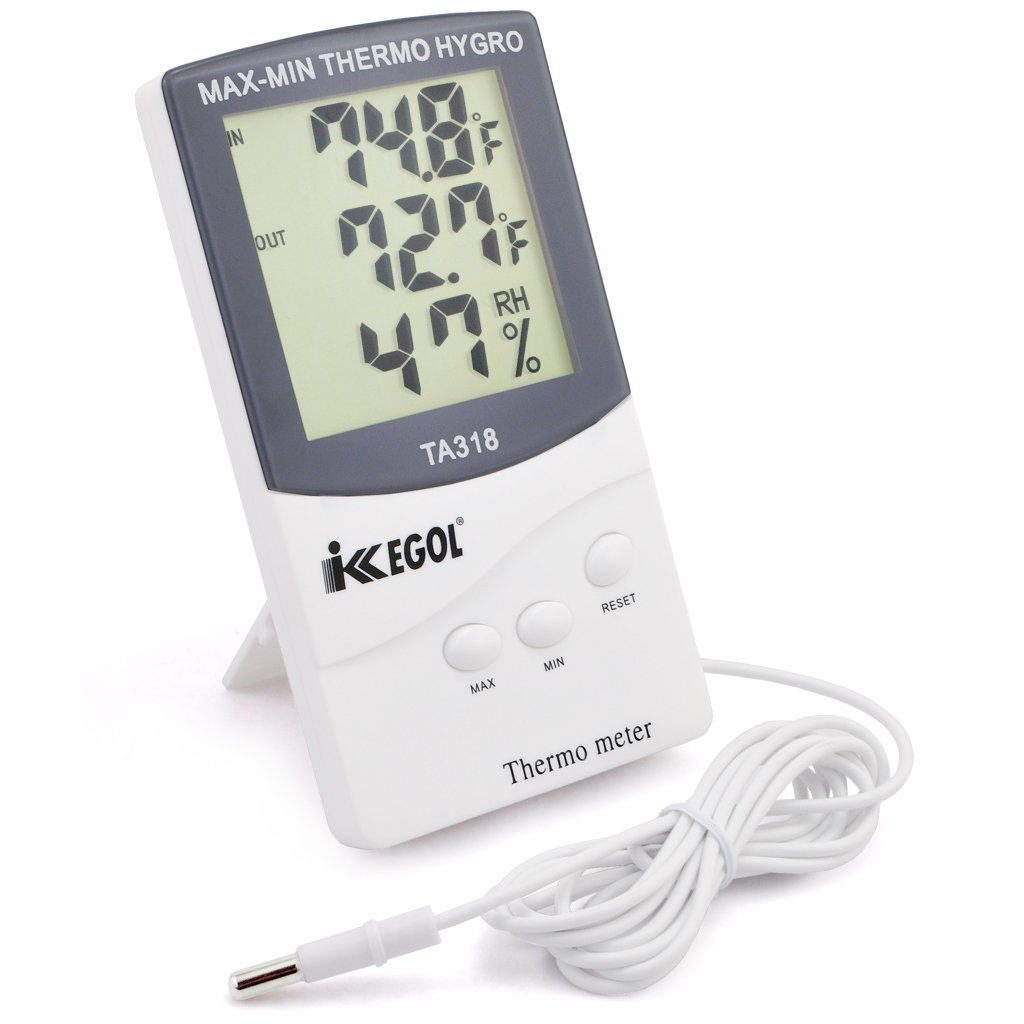 iKKEGOL Dual Sensor LCD Display Indoor Outdoor Digital Thermometer Hygrometer with Max Min Memory