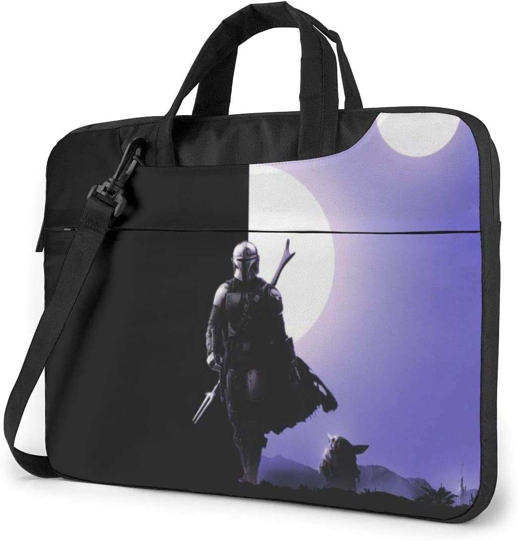 The Mandalorian Yoda Galaxy Shockproof Laptop Shoulder Messenger Bag Case Sleeve Oxford Cloth Briefcase for 13 Inch 14 Inch 15.6 Inch