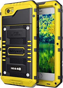 Mitywah Waterproof Case for iPhone 6, iPhone 6s Heavy Duty Military Grade Armor Metal Case, Full Body Protective Strong Shockproof Dustproof Rugged Thick Case for iPhone 6 / 6s, Yellow