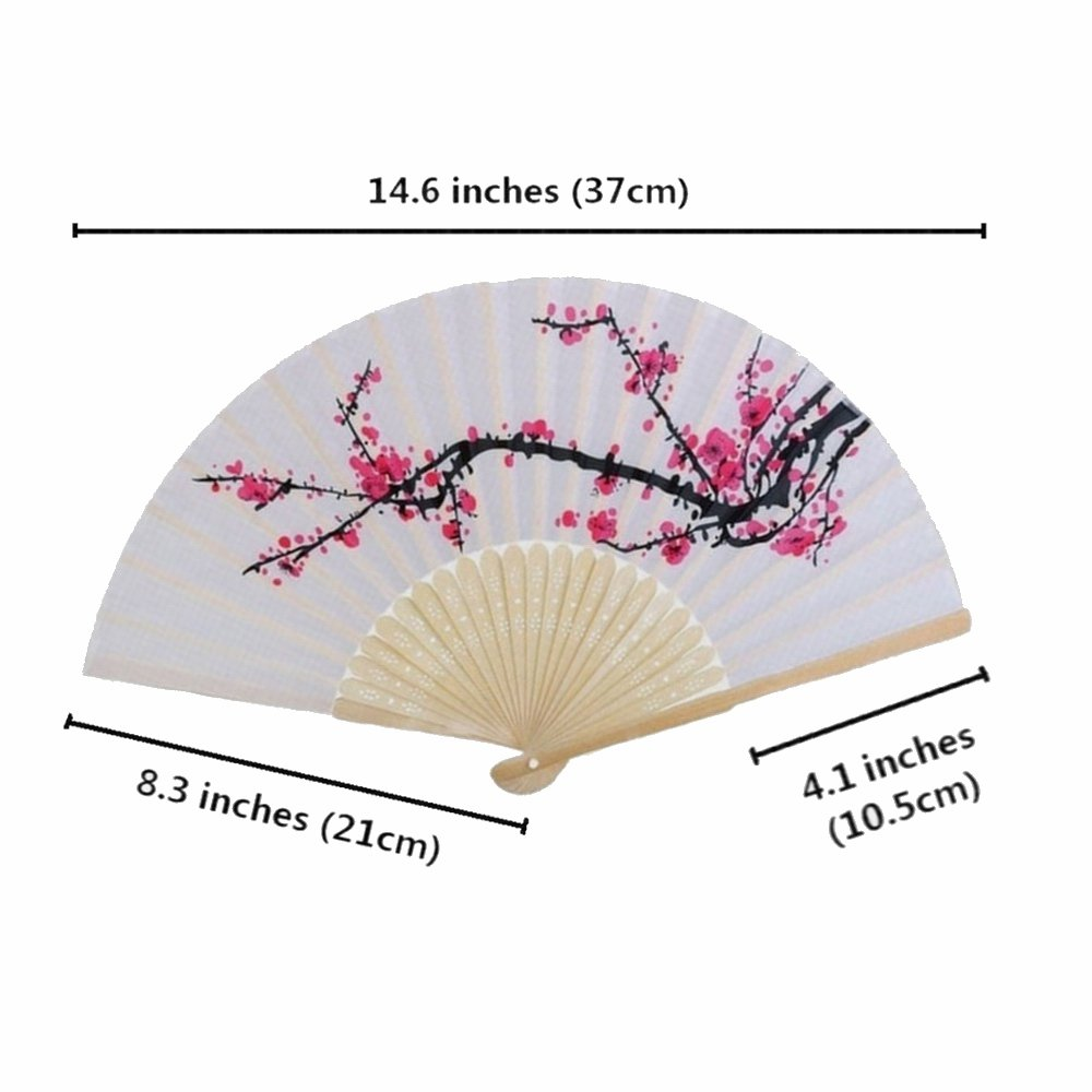 Amazon.com: 10 pcs Delicate Cherry Blossom Design Silk Folding hand ...