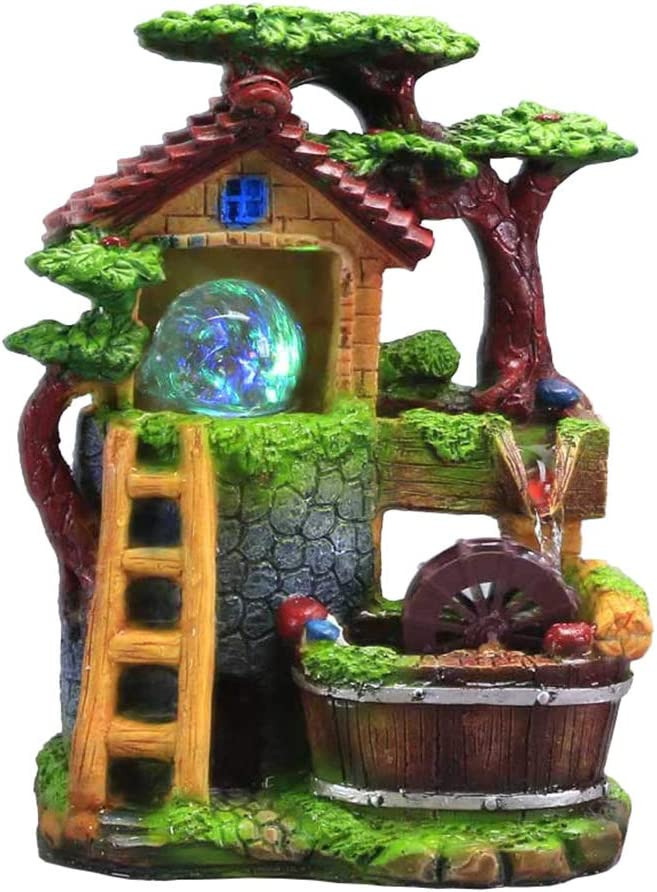 Tabletop Fountain Indoor Small Rockery Desktop Mountain Cascading Waterfalls with Rolling Ball Waterwheel Ladder for Gift and Decoration