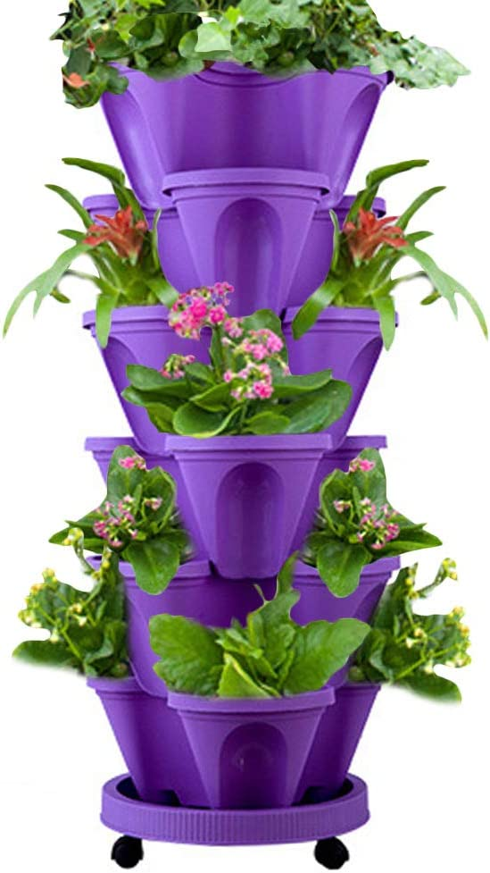WAQIA HOUSE Set of 7 Vertical Gardening Planter Stackable Flower Pot Tower, Herb and Strawberry Planters Stacking Garden Pots with Saucer