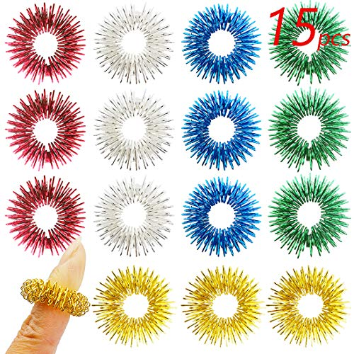 FRIMOONY 15pcs Spiky Sensory Rings, Finger Massager Roller, Silent Fidget Toy for ADHD, Autism, Stress Relief, 5 Colors
