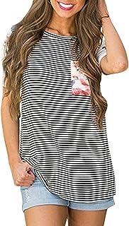 PorLous Women Casual Loose Striped Crew Neck Short Sleeved Pocket T-Shirt Tops Blouse
