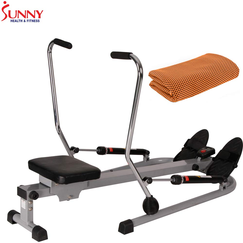 Sunny Health and Fitness 12 Level Resistance Rowing Machine Rower w/Independent Arms (SF-RW5619) with Workout Cooling Towel by Sunny (Image #1)