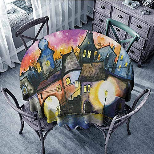 Abstract Spillproof Tablecloth Funky Watercolors Paint Small Town Weird Angles at Night Sky Reflections Mist Image Wedding 67