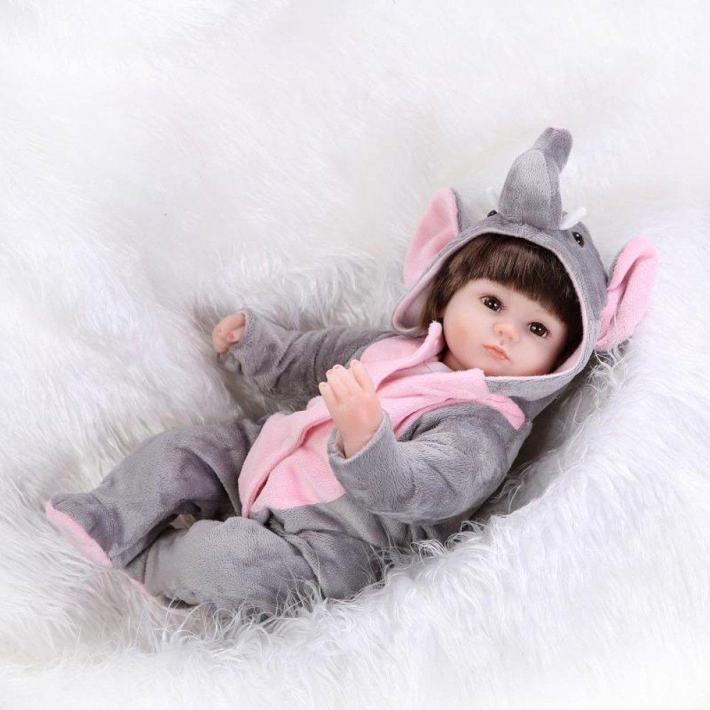 QXMEI 17inch Renacido De La Muñeca De Silicona Suave 42cm Magnética Boca Realista Niño Niña De Juguete Gris Animal Reborn Baby Reborn Doll
