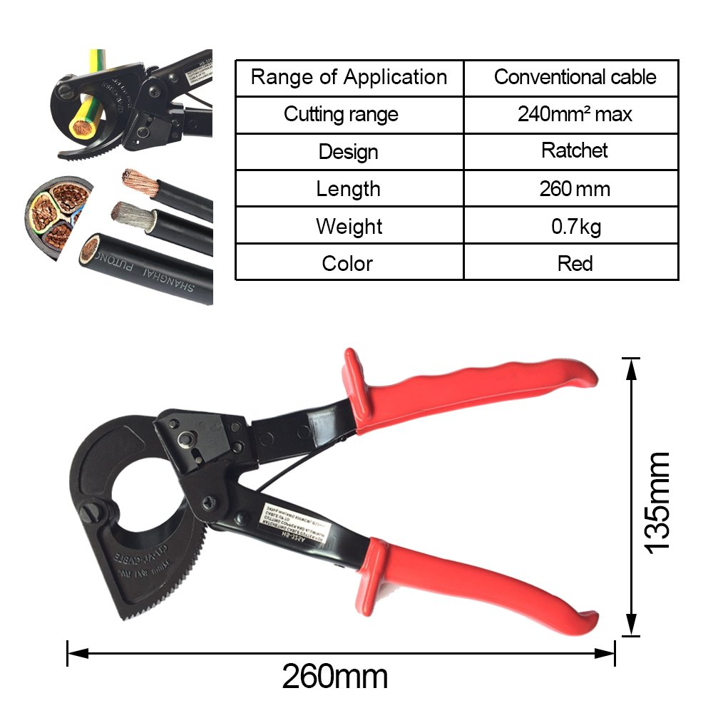 HAPDUX Heavy Duty Aluminum Copper Ratchet Cable Professional Cable Cutter 240mm² Ratcheting Wire Cut Hand Tool by HAPDUX (Image #5)