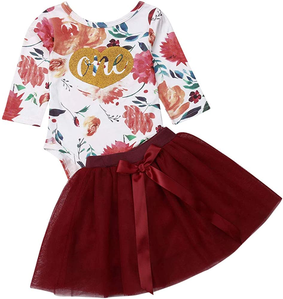 Infant Girls Long Sleeve Outfits Set Baby Girl Red Tulle Skirts Set Floral Print Bodysuit Clothing Set,3-24 Months