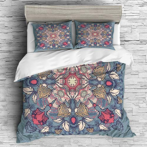 SCOCICI King Size Duvet Cover Set/Mandala,Round Floral Vintage Figure Branch and Flowers Traditional Ethnic Asian Print,Grey Pink Cream / 3 Piece Bedding Set ()