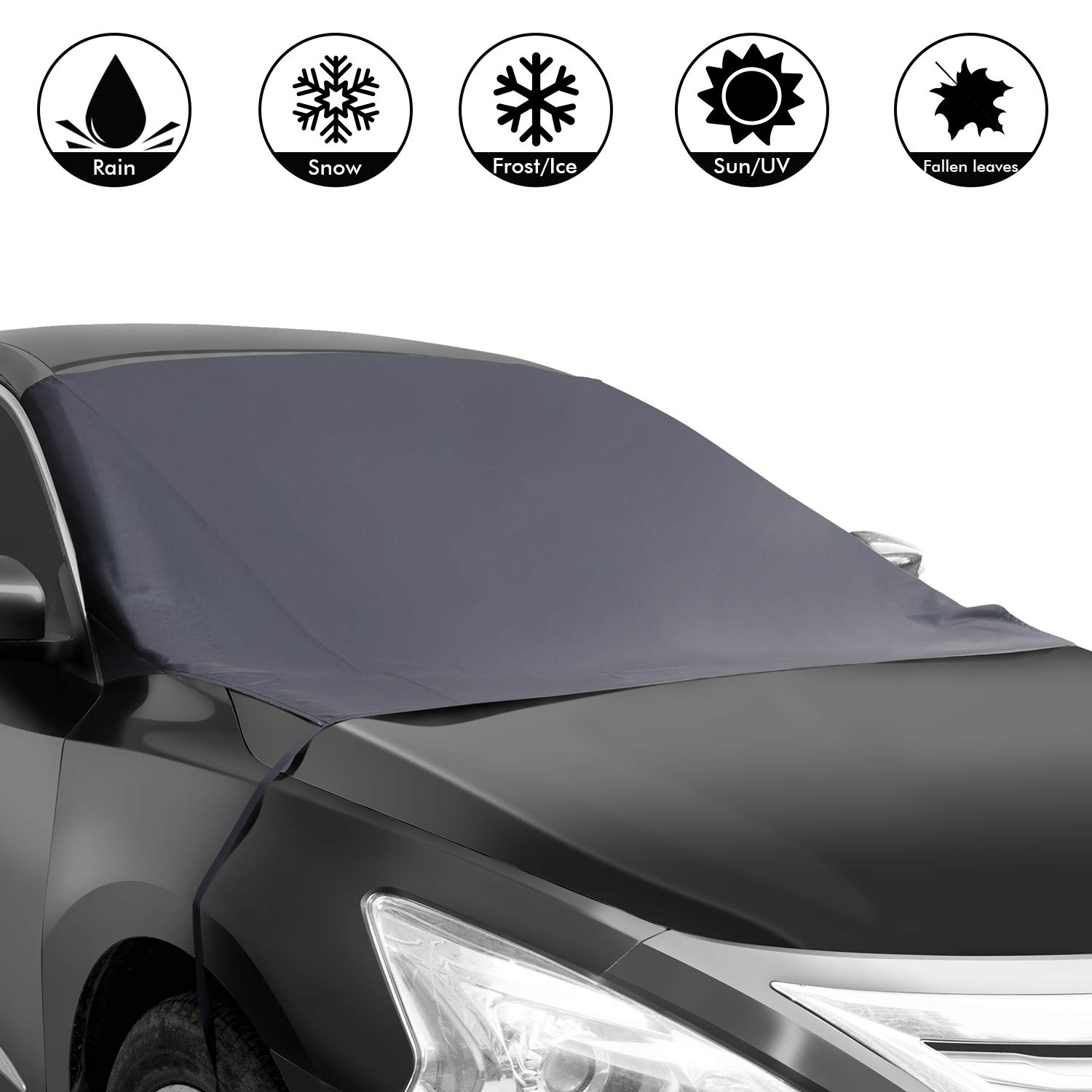 Shynerk Magnetic Edges Car Snow Cover, Frost Car Windshield Snow Cover, Frost Guard Protector, Ice Cover, Car Windsheild Sun Shade, Waterproof Windshield Protector Car/Truck/SUV 82''x48.8''