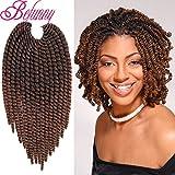 Befunny 8Inch 6Packs Ombre Havana Twist Crochet Hair Medium Short Senegalese Twist Crochet