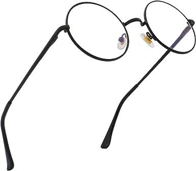Amazon Com Ranhuu Blue Light Blocking Round Metal Frame Circle John Lennon Style Computer Eyeglasses Black Frame Clear Lens 48 Clothing
