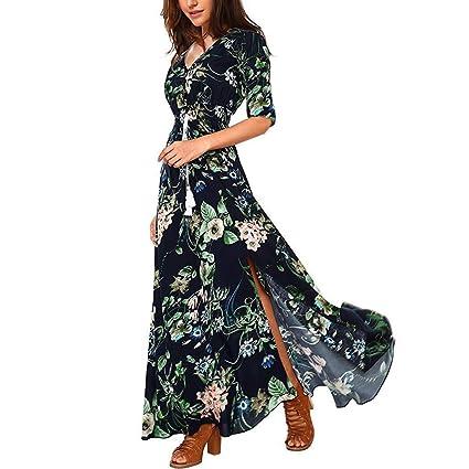 Wave166 Vestidos de mujer Mujer Verano Cuello en V Boho Largo Maxi ...