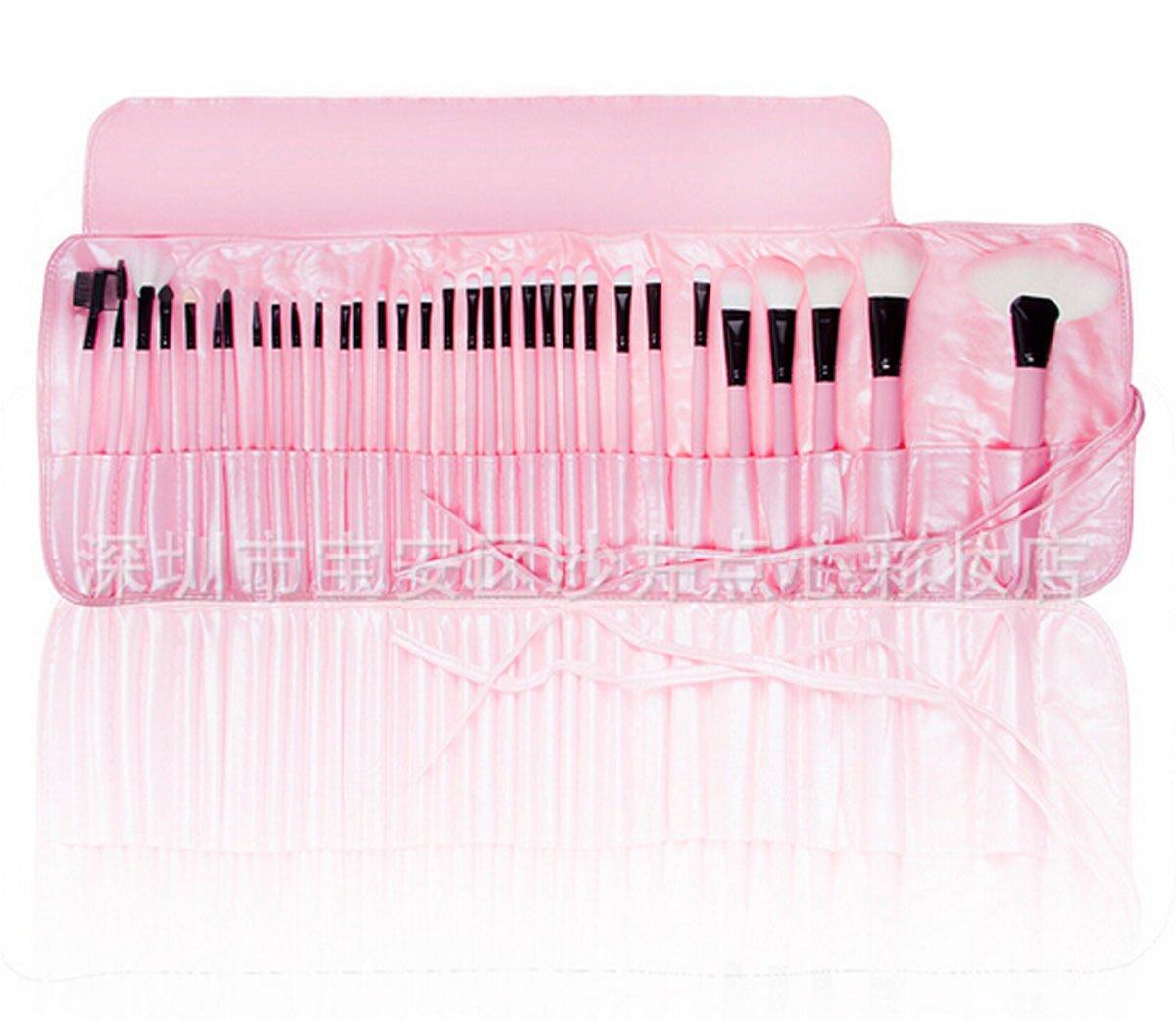 LyDia - Astuccio con 32 pennelli da trucco professionali, con custodia, colore rosa LyDia Beauty 32pcs pink