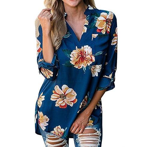 Blusa de Cuello V, Holacha Camisa de Impreso floral de Poliéster Casual para Mujeres 2 Colores